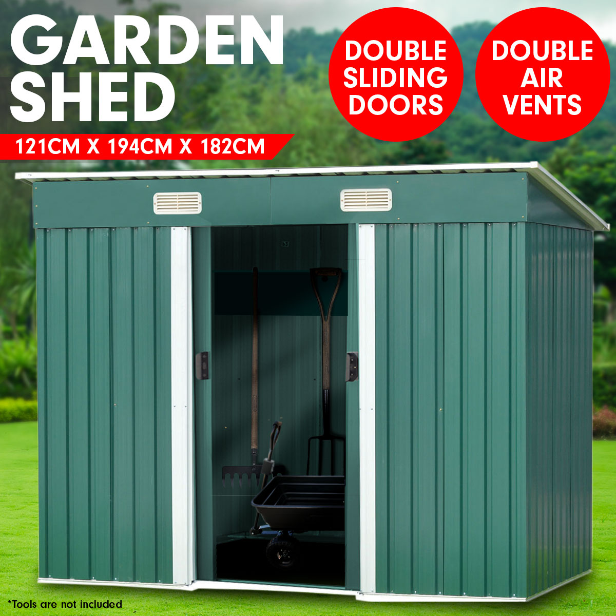 Garden Shed Flat 4ft x 6ft Outdoor Storage Shelter - Green