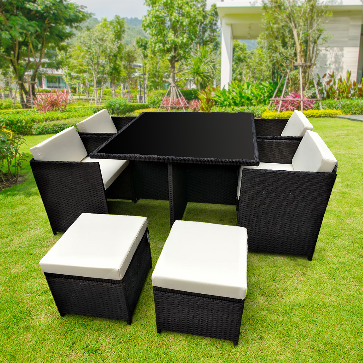 9pc Outdoor Furniture PE Rattan Cube Dining Garden Set
