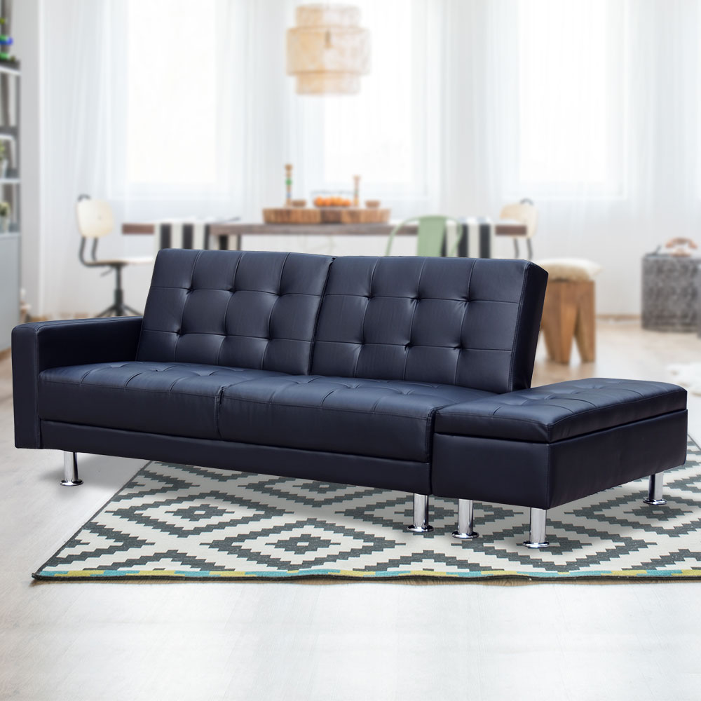 3 Seater Faux Leather Sofa Bed Couch with Ottoman - Black