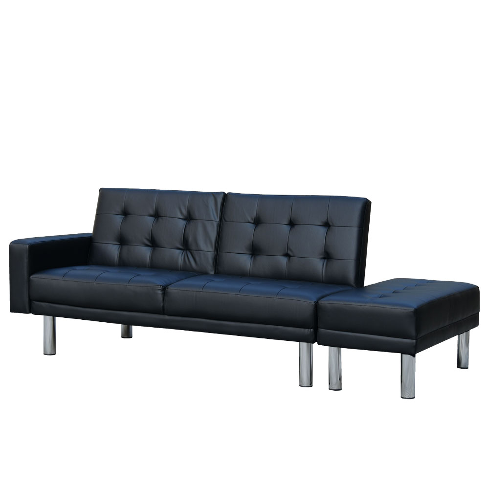 3 Seater Faux Leather Sofa Bed Couch Futon Suite with Ottoman - Black
