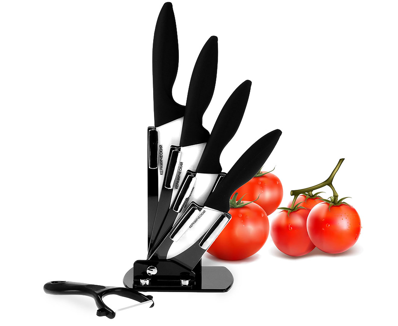 Ceramic Kitchen Knife Peeler 6pc Set