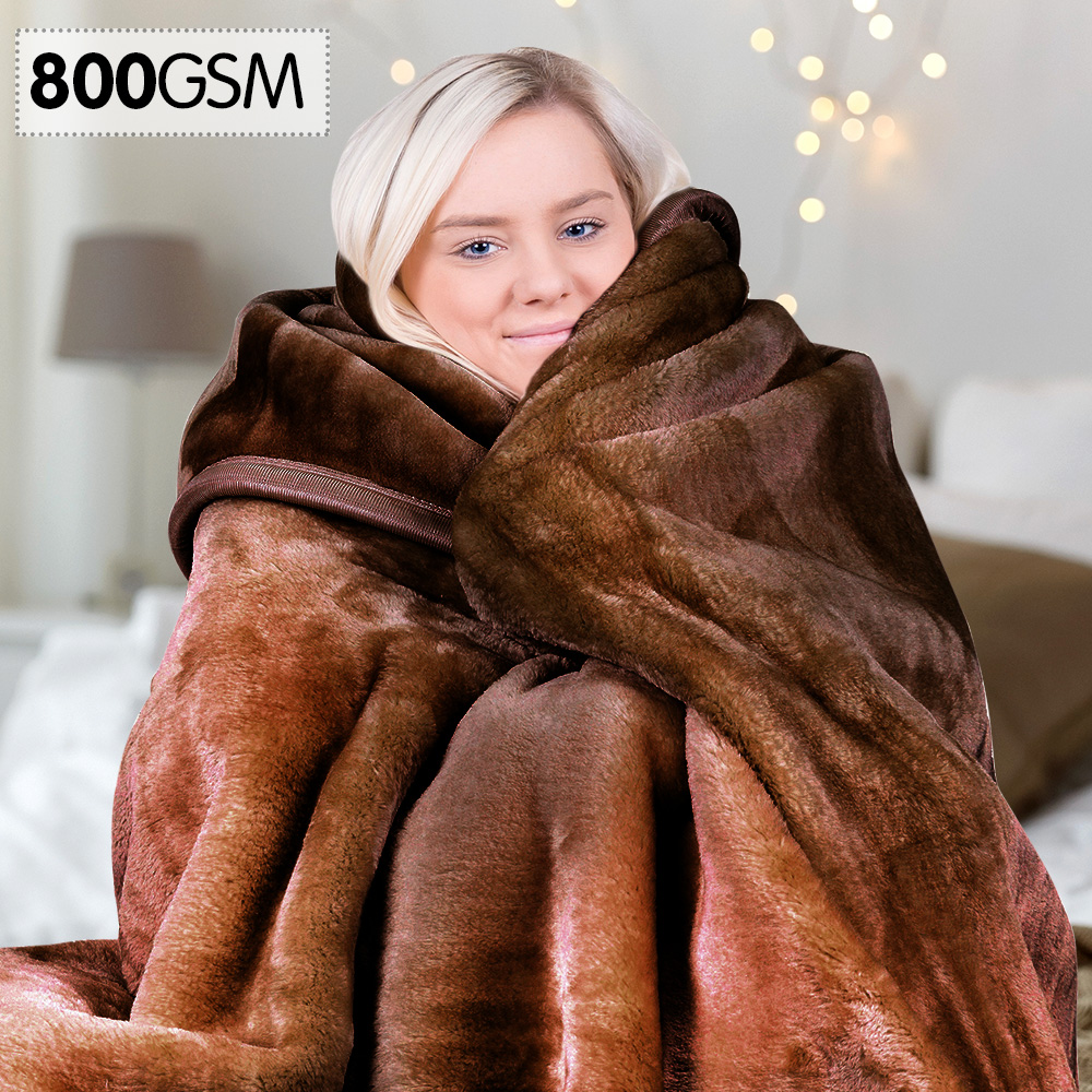 800GSM Heavy Double-Sided Faux Mink Blanket - Chocolate