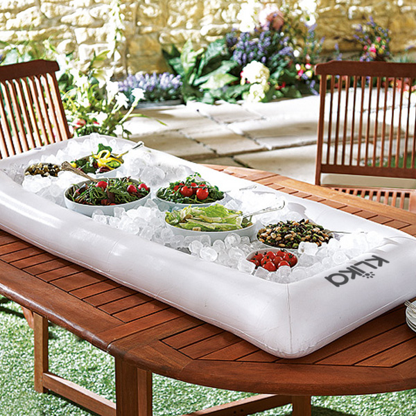 Inflatable salad bar with pump - White