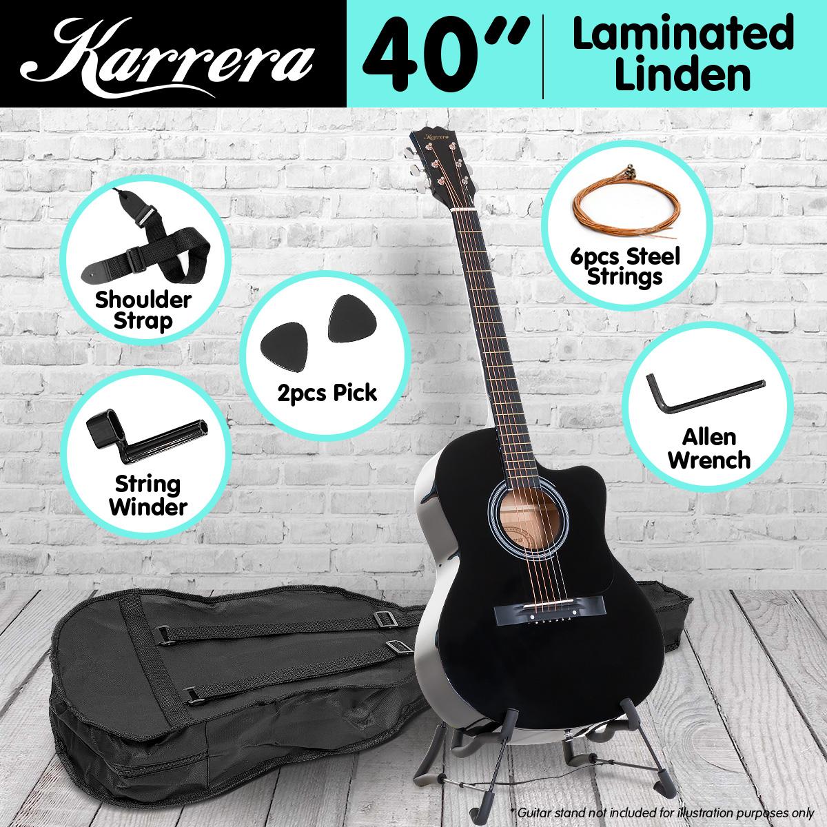 Karrera Acoustic Cutaway 40in Guitar - Black