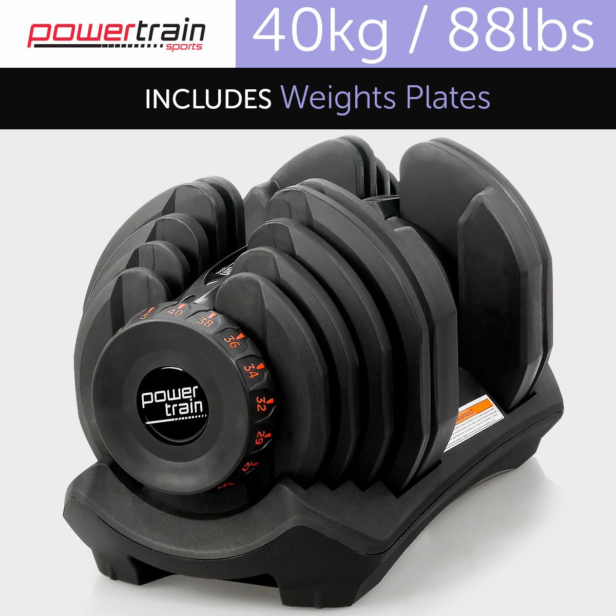 40kg Powertrain Home Gym Adjustable Dumbbell