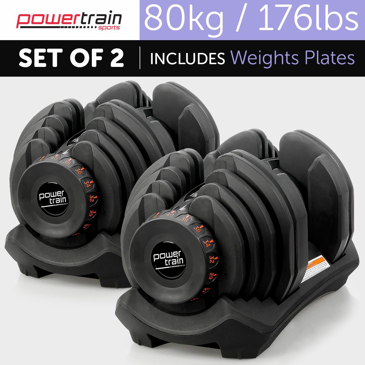 80kg Powertrain Home Gym Adjustable Dumbbell Set