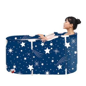 120x70x60cm Folding Bathtub Portable PVC Water Tub Outdoor Room Adult Spa Bath