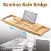 Multifunctional Bamboo Bathtub Rack Retractable Storage Shelf for Bathroom