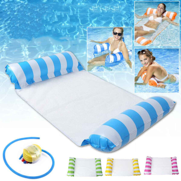 Inflatable Swimming Floating Chair Foldable Sleeping Lounger Summer Air Hammock Sun Lounges