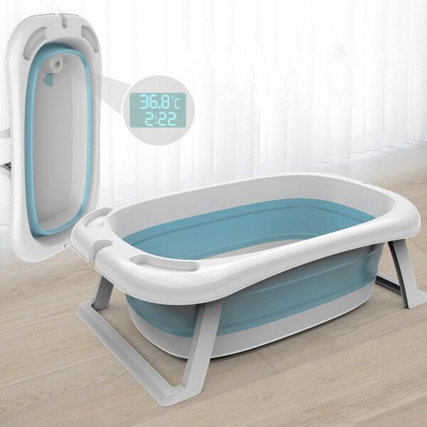 Folding Baby Bath Tub Reclining Bath Barrel Newborn Bathtub Shower + Thermometer