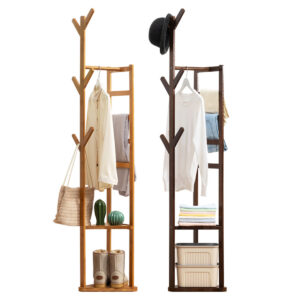 Garment Coat Rack Stand Clothes Wooden Hanger Hat Bag Umbrella Hook Holder Shelf
