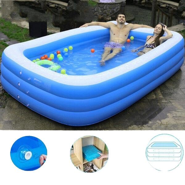 1.5/2.1/3.05M 3 Layers Portable Inflatable Swimming Pool Adults Kids Bath Bathtub Foldable Outdoor Indoor Bathroom SPA