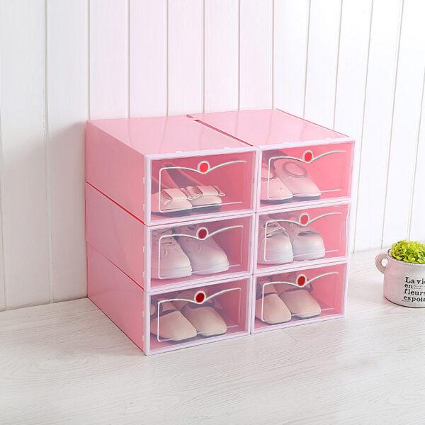 Foldable 6 Shoe Box Transparent Plastic Flip Drawer Type-White/Pink/Blue/Green