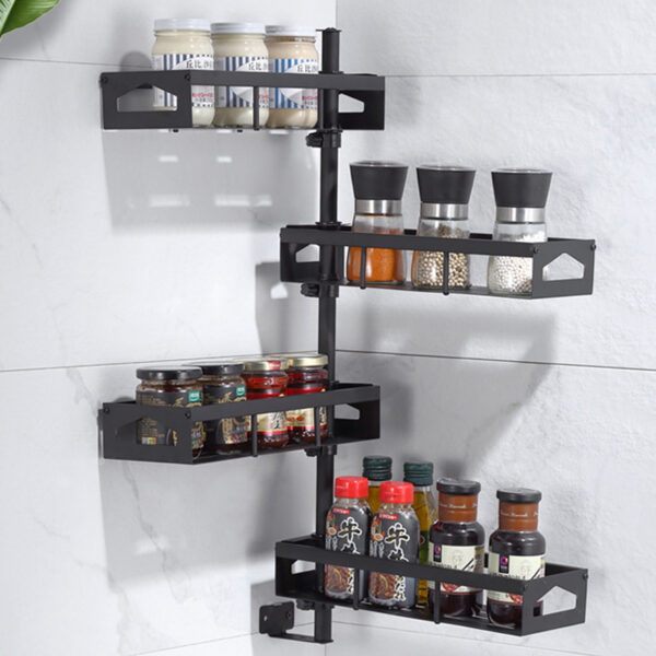 Jiexing JXE04-BK-SR 2/4 Layers Wall-mounted Rotating Spice Rack Punch-free Adjustable Height for Kitchen