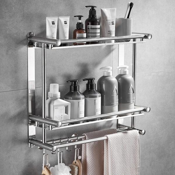 Towel Rail Holder Double Chrome Wall Mounted Stainless Steel Bathroom Rack Shelf