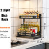 3 Tier Stainless Steel Storage Rack Countertop Spice Jars Bottle Shelf Kitchen Spice Rack