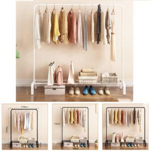Rack Pole Style Coat Hanger Indoor Metal Clothing Rack Home Bedroom Storage Wardrobe Clothing Balcony