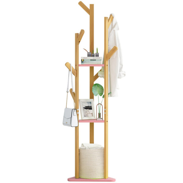 60 Inch Sturdy Natural Bamboo Tree Garment Clothes Coat Hat Hanger Stand Rack