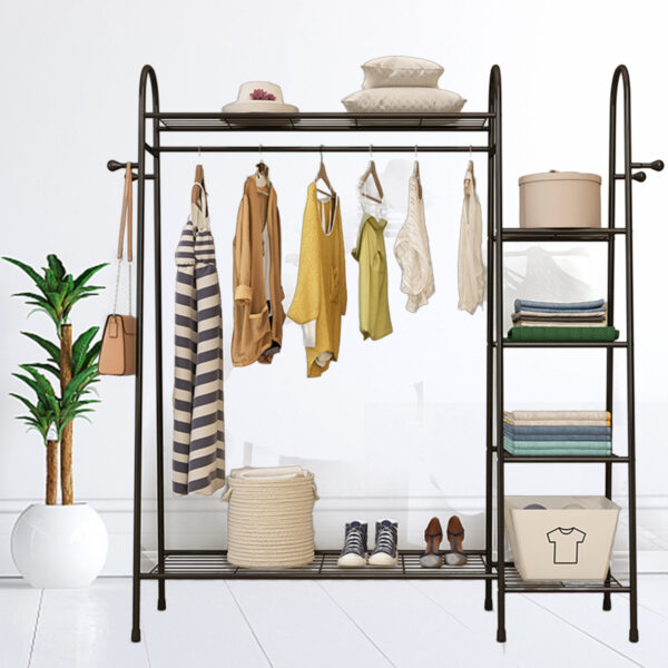 Multi-layers Floor Hanger Clothes Rack Shoes Storage Shelf Hats Wardrobe for Home Furniture
