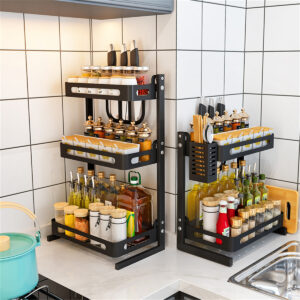 3 Tier Stainless Steel Storage Rack Countertop Spice Jars Bottle Shelf Kitchen Spice Rack