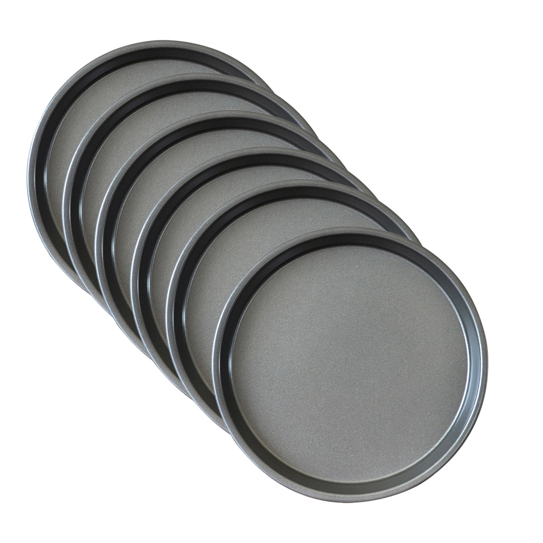 SOGA 6X 10-inch Round Black Steel Non-stick Pizza Tray Oven Baking Plate Pan