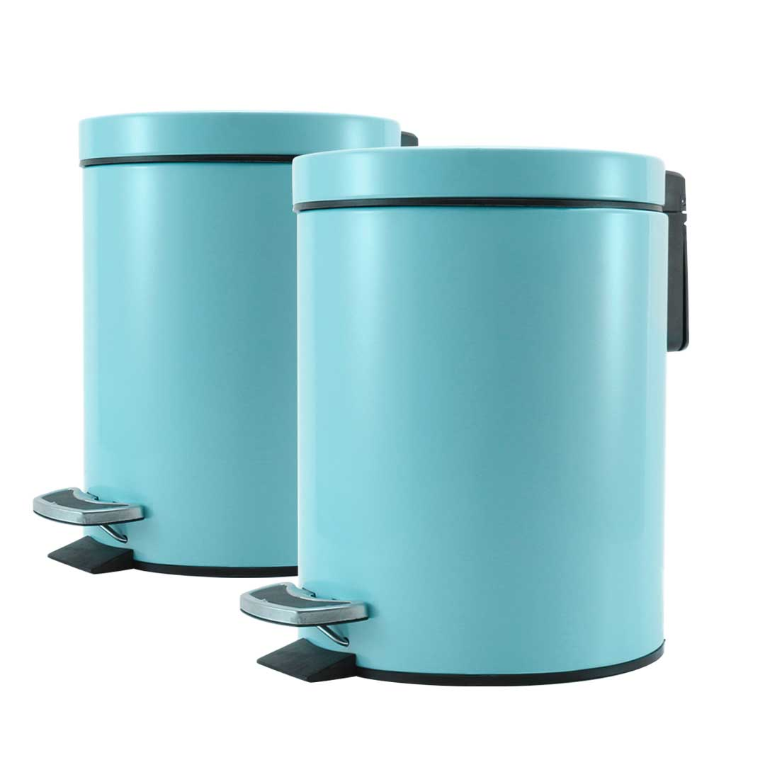 SOGA 2X 12L Foot Pedal Stainless Steel Rubbish Recycling Garbage Waste Trash Bin Round Blue