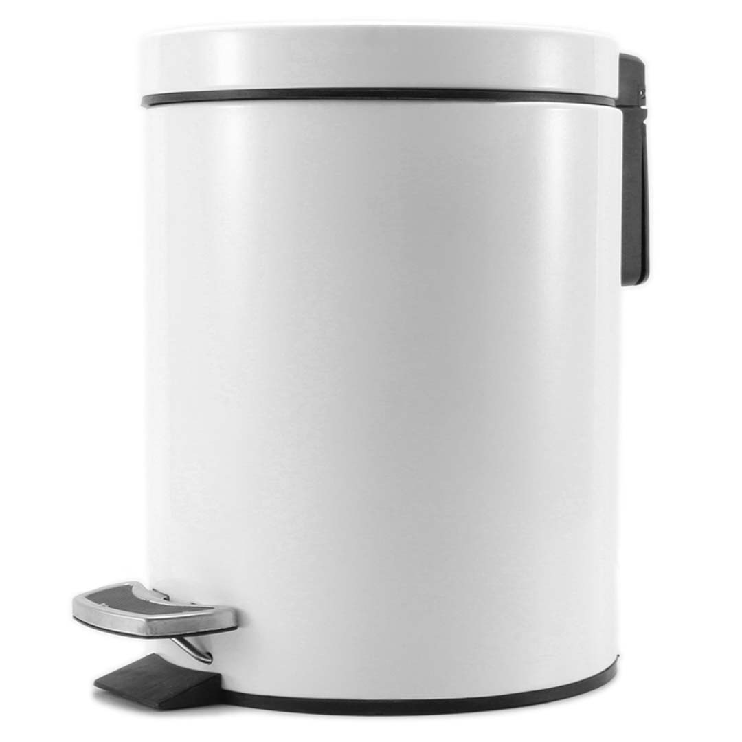 SOGA Foot Pedal Stainless Steel Rubbish Recycling Garbage Waste Trash Bin Round 12L White