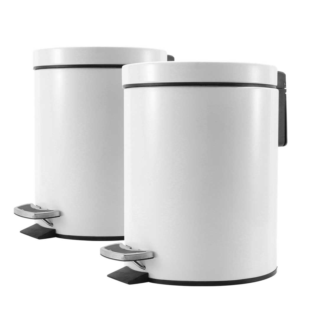 SOGA 2X 12L Foot Pedal Stainless Steel Rubbish Recycling Garbage Waste Trash Bin Round White