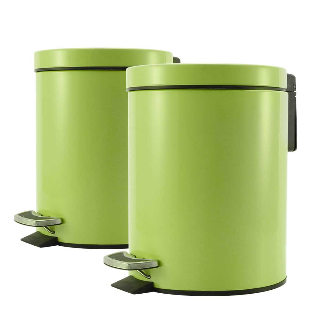 SOGA 2X 7L Foot Pedal Stainless Steel Rubbish Recycling Garbage Waste Trash Bin Round Green