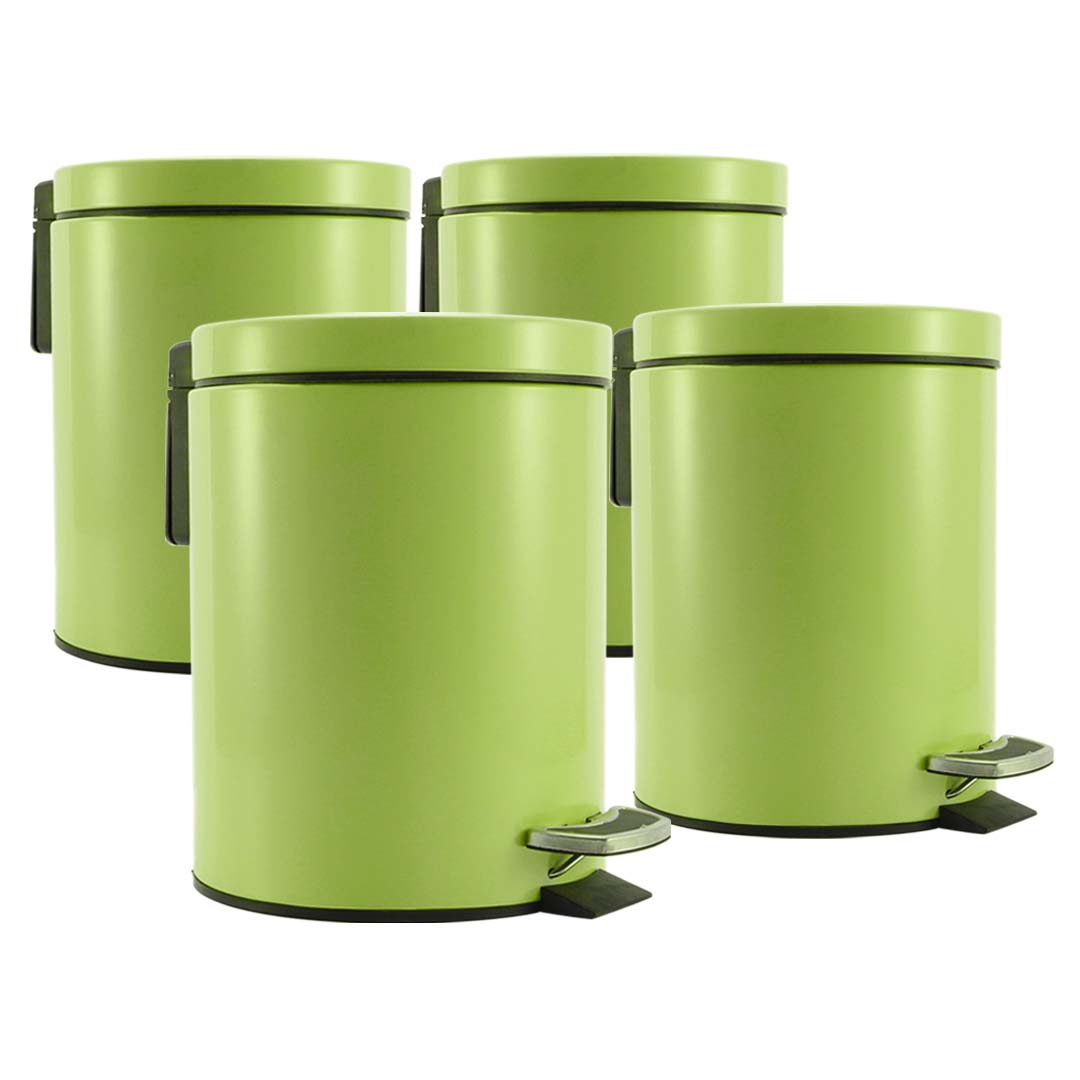 SOGA 4X 7L Foot Pedal Stainless Steel Rubbish Recycling Garbage Waste Trash Bin Round Green