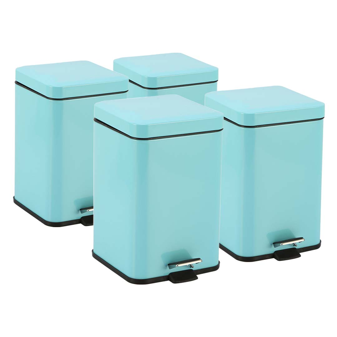 SOGA 4X 12L Foot Pedal Stainless Steel Rubbish Recycling Garbage Waste Trash Bin Square Blue