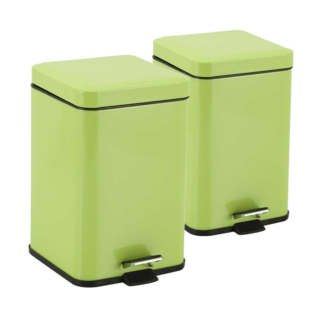 SOGA 2X 6L Foot Pedal Stainless Steel Rubbish Recycling Garbage Waste Trash Bin Square Green