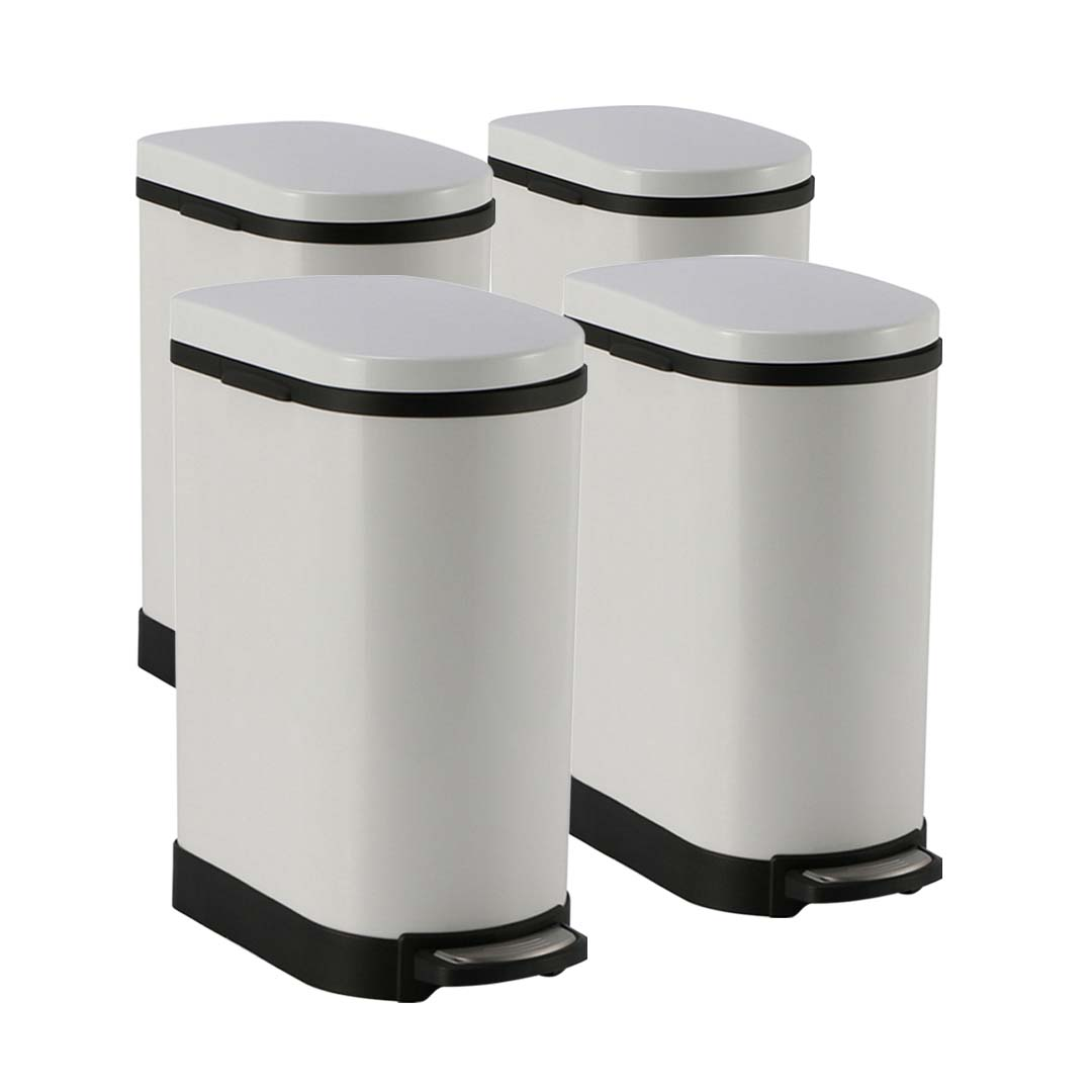 SOGA 4X 10L Foot Pedal Stainless Steel Rubbish Recycling Garbage Waste Trash Bin U White
