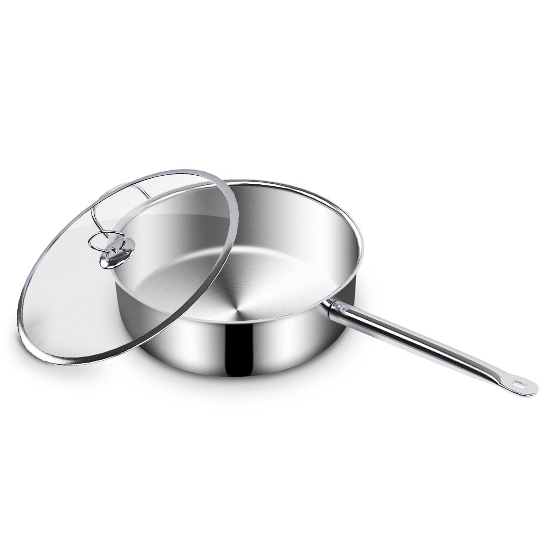 SOGA Stainless Steel 26cm Saucepan With Lid Induction Cookware Triple Ply Base