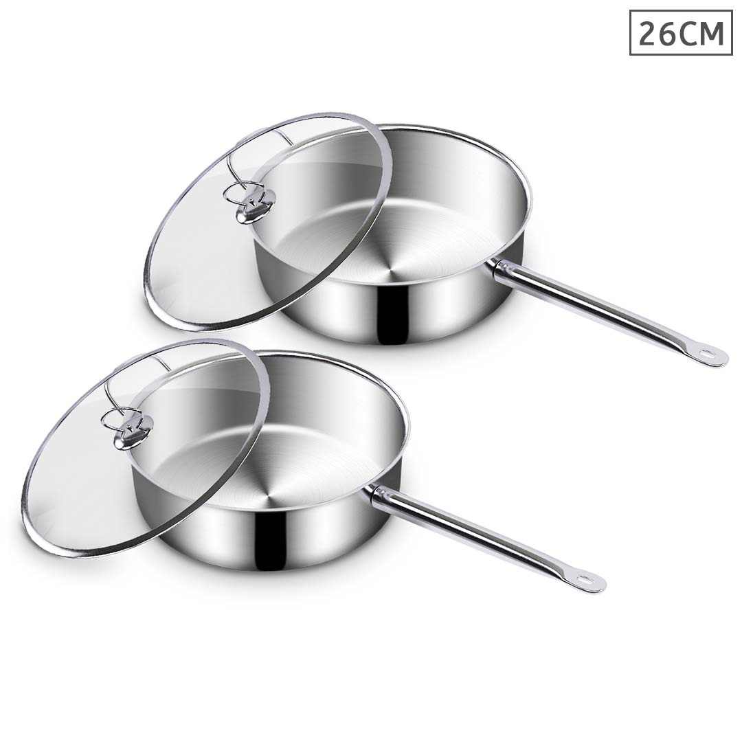 SOGA 2X Stainless Steel 26cm Saucepan With Lid Induction Cookware Triple Ply Base