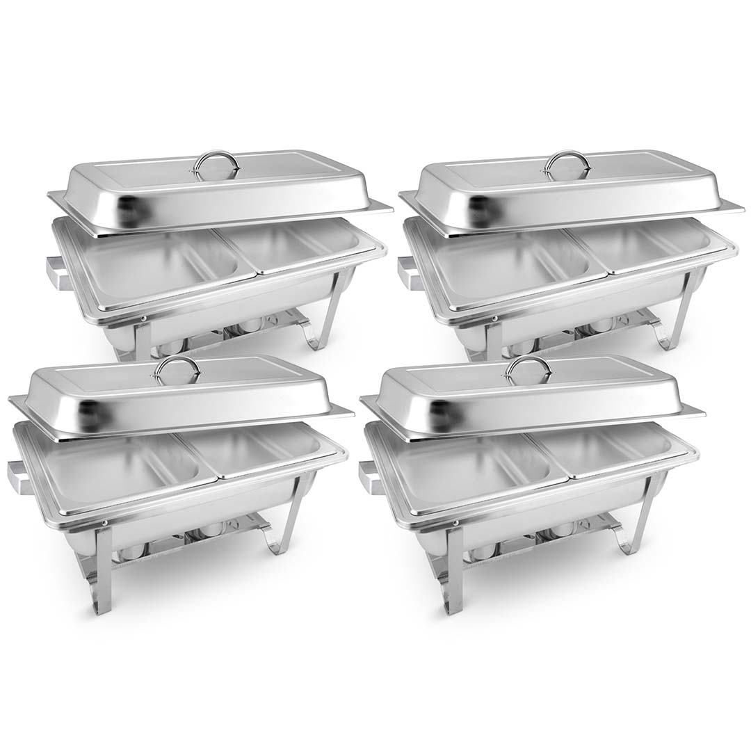 SOGA 4X 4.5L Dual Tray Stainless Steel Chafing Food Warmer Catering Dish