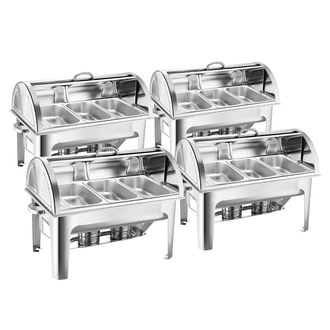 SOGA 4X 3L Triple Tray Stainless Steel Roll Top Chafing Dish Food Warmer