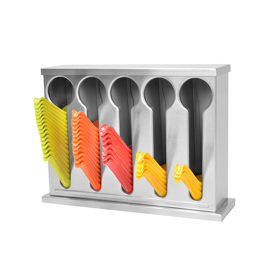 SOGA Stainless Steel Buffet Restaurant Spoon Utensil Holder Storage Rack 5 Holes