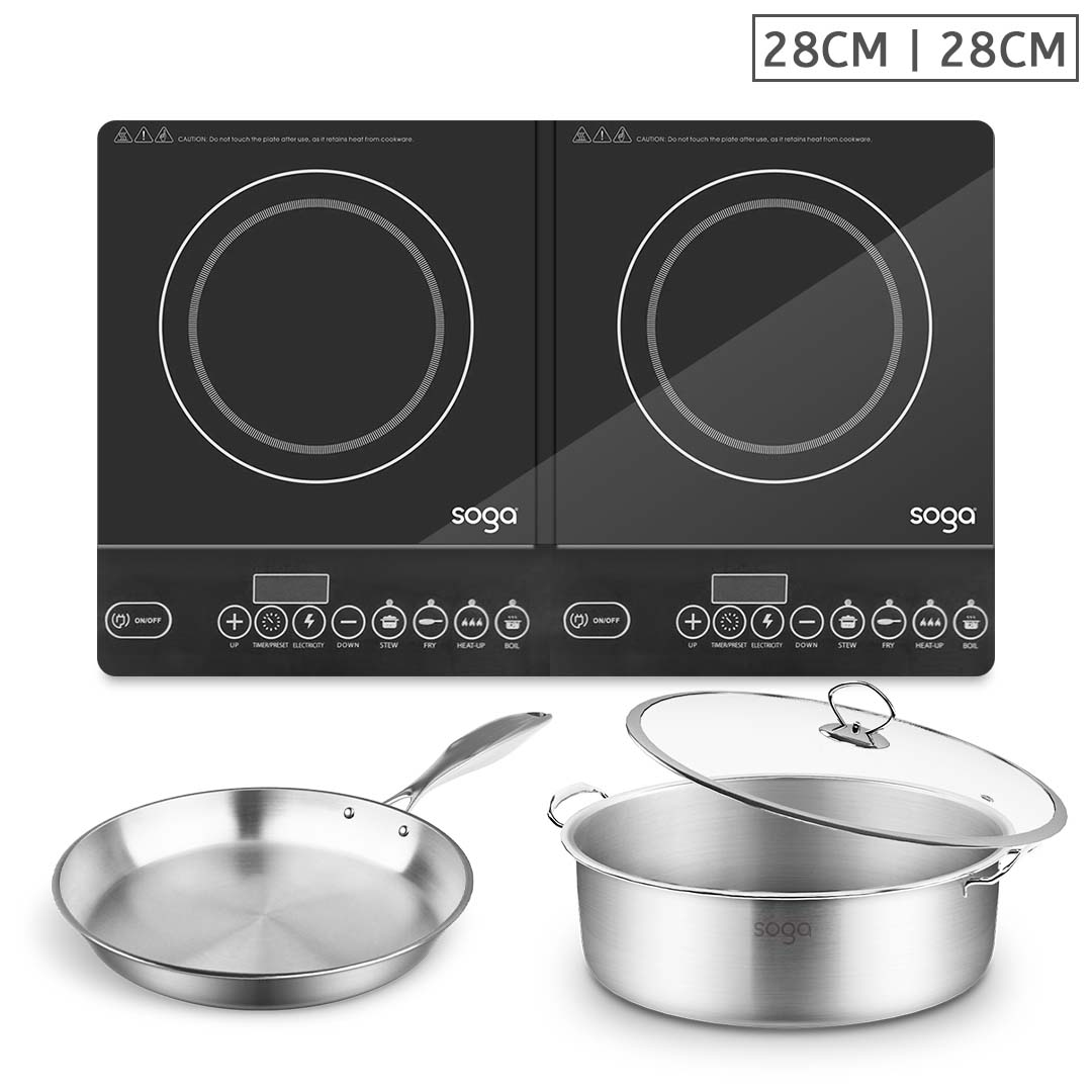 SOGA Dual Burners Cooktop Stove 28cm Stainless Steel Induction Casserole and 28cm Fry Pan
