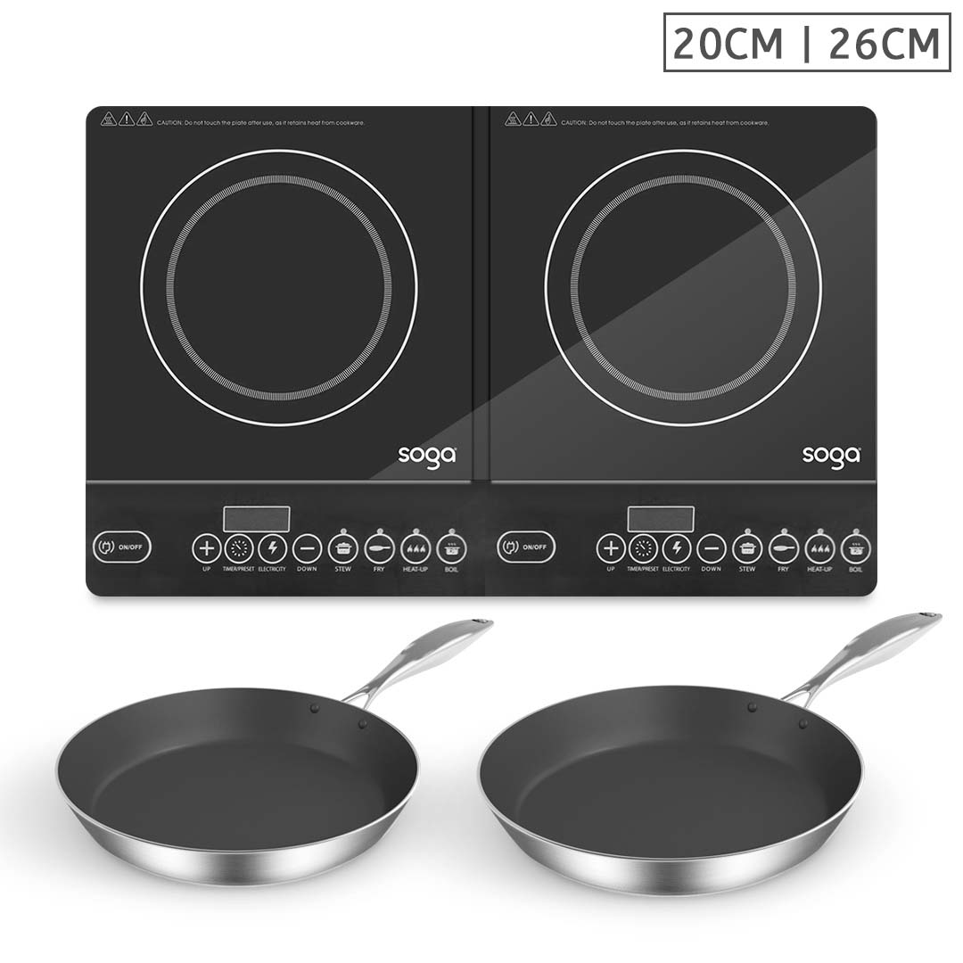 SOGA Dual Burners Cooktop Stove With 20cm and 26cm Induction Frying Pan Skillet