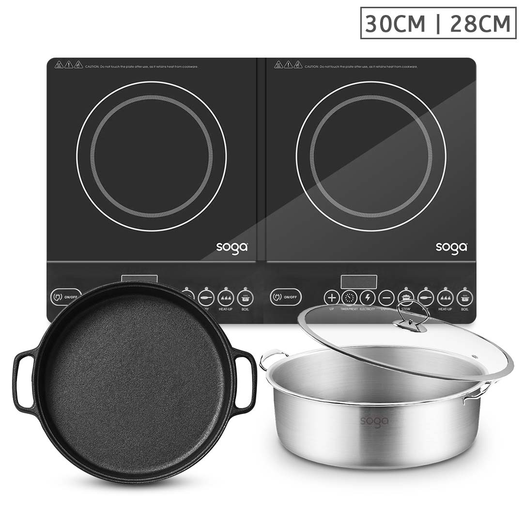 SOGA Dual Burners Cooktop Stove, 30cm Cast Iron Frying Pan Skillet and 28cm Induction Casserole