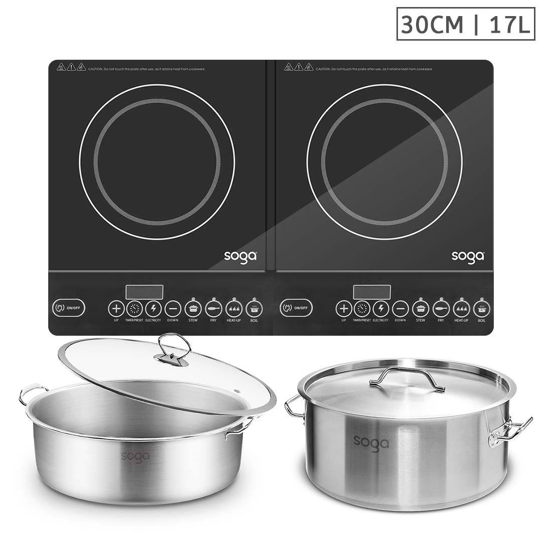 SOGA Dual Burners Cooktop Stove, 17L Stainless Steel Stockpot 28cm and 30cm Induction Casserole