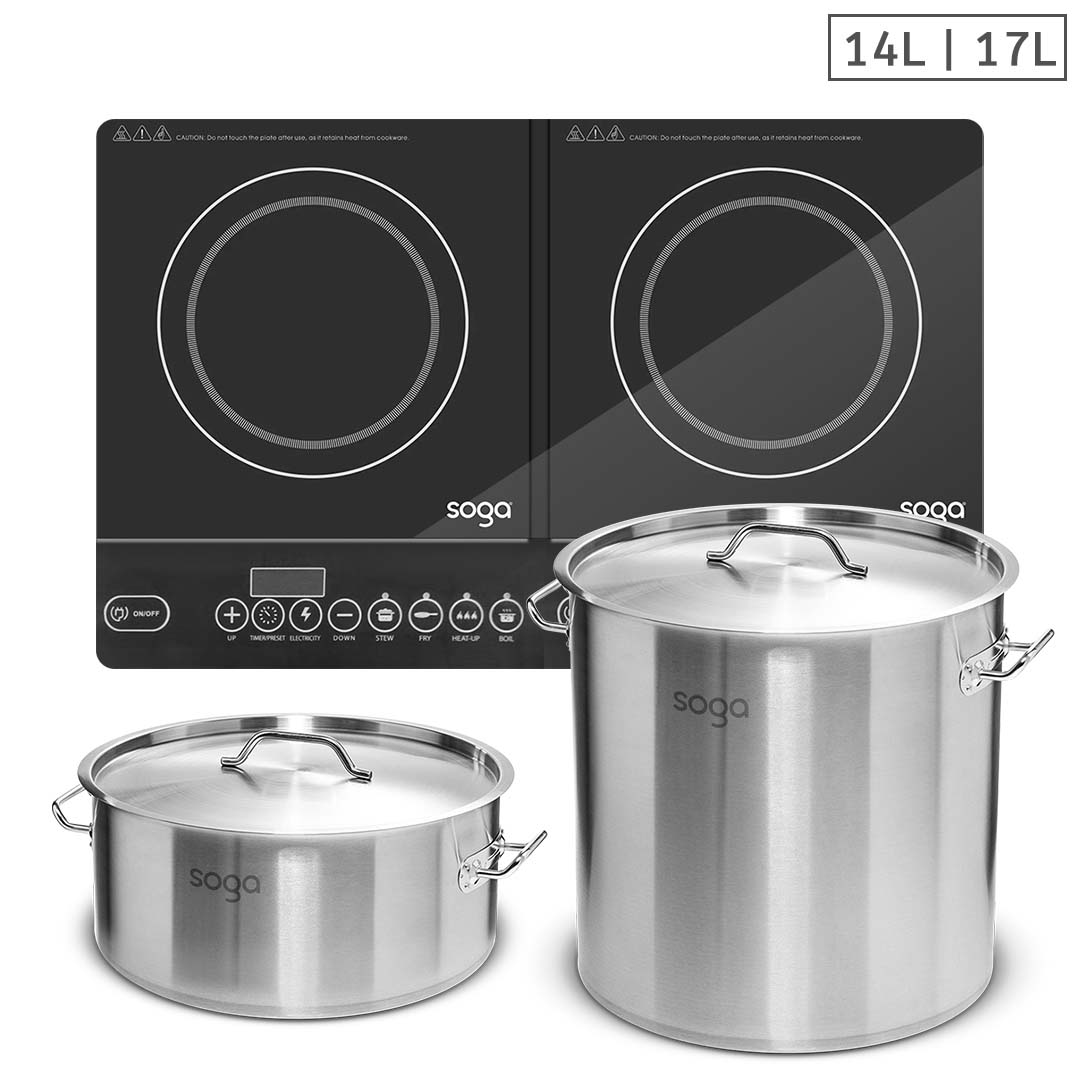 SOGA Dual Burners Cooktop Stove, 14L and 17L Stainless Steel Stockpot Top Grade Stock Pot