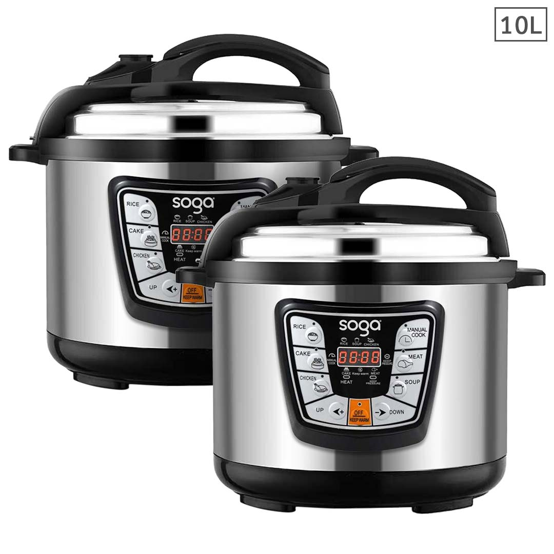 SOGA 2X Stainless Steel Electric Pressure Cooker 10L Nonstick 1600W