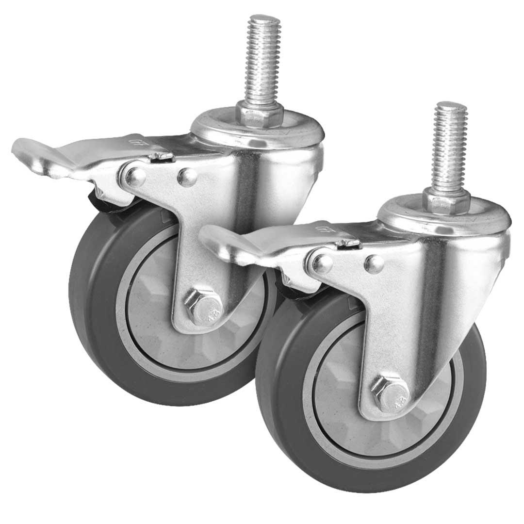 """SOGA 2 x 4"""" Heavy Duty Polyurethane Swivel Castor Brake Wheels"""