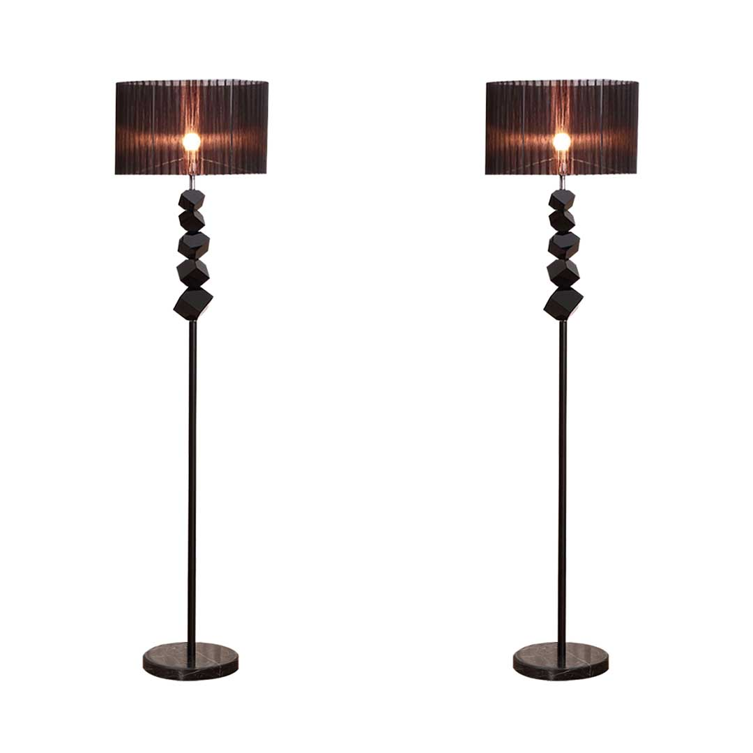 SOGA 2x Floor Lamp Metal Base Standing Light with Dark Shade Tall Lamp