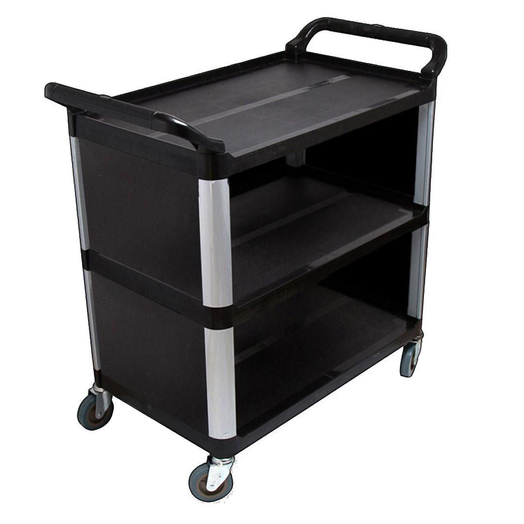 SOGA 3 Tier Covered Food Trolley Food Waste Cart Storage Mechanic Kitchen Black