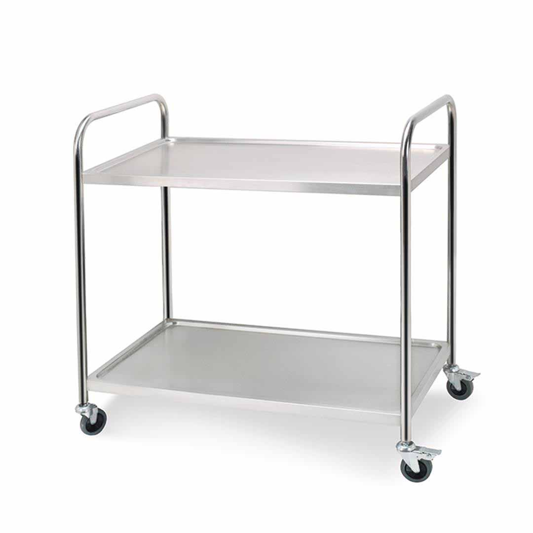 SOGA 2 Tier 81x46x85cm Stainless Steel Kitchen Dining Food Cart Trolley Utility Round Small