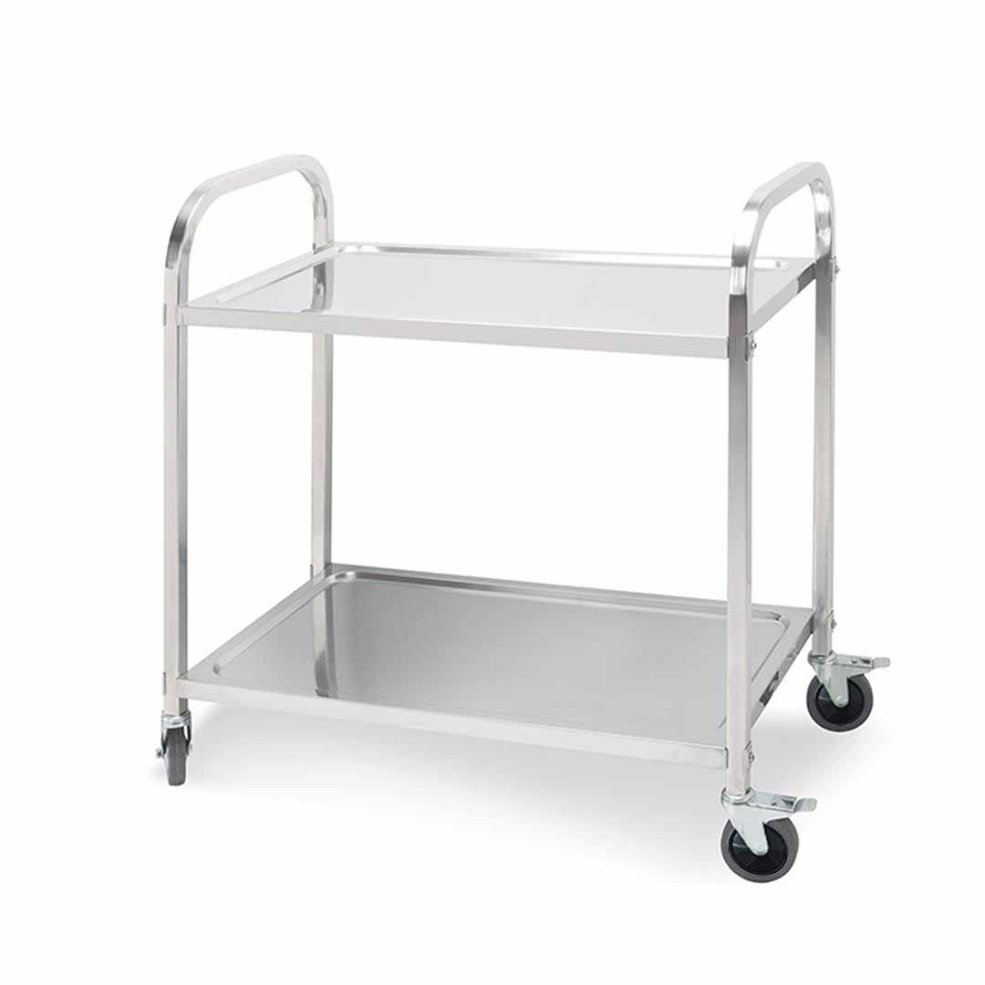 SOGA 2 Tier 85x45x90cm Stainless Steel Kitchen Dining Food Cart Trolley Utility Medium