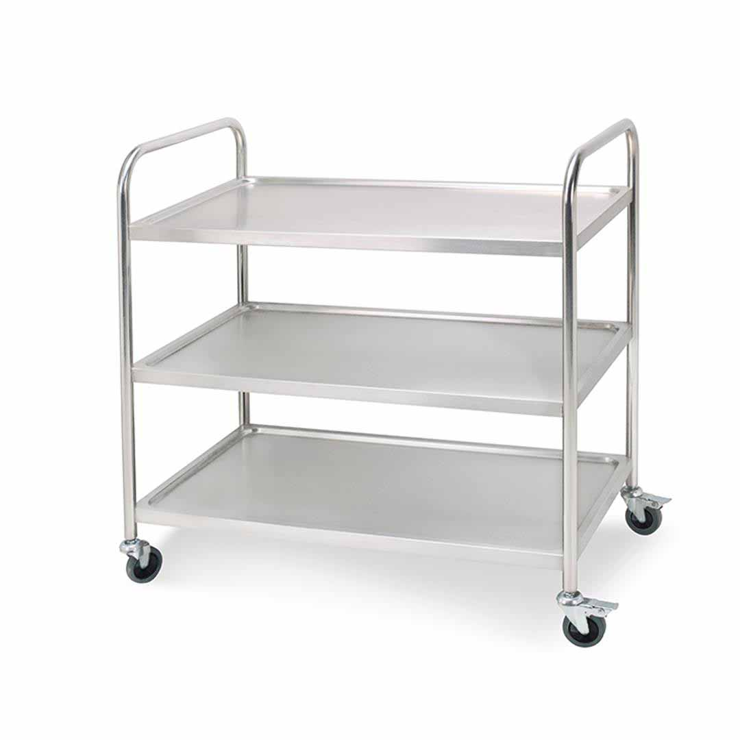 SOGA 3 Tier 81x46x85cm Stainless Steel Kitchen Dinning Food Cart Trolley Utility Round Small